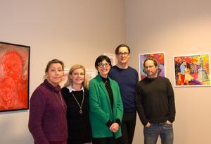 Fem av de cirka 40 deltagande konstnärerna:  Erika Wiklund, Eva Hörnlund, Maria Eriksson, Henrik Selin och Herman Englund.