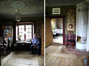 Arbetsrummet har en barock känsla. Taket är ett 1600-talstak som Jan satt upp bit för bit. På väggarna hänger gyllenläderimitationer.