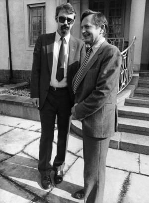 Asea-chefen Percy Barnevik tillsammans med statsminister Olof Palme när näringslivets toppar mötte regeringen på Harpsund 1983.Foto: Bertil Ericson / SCANPIX
