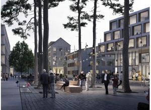 Så här skulle det kunna se ut med ett torg/en mötesplats vid en stadsmässig gata, till exempel Erikshällsgatan, där det finns lokaler i husens bottenvåningar och bostäder ovanpå. Parkkänsla och belysning är viktiga innehåll. Exemplet kommr från Sköndal i Stockholm. Skiss: Södertälje kommun/Kjellander Sjöberg