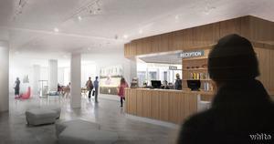 Så här blir entréhallen med butik, reception och kafé. Skiss: White arkitekter