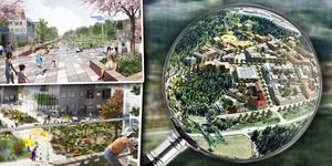 Här en del av förslaget till hur den nya stadsdelen Sätra kan komma att utformas. Illustration: Tovatt Architect & Planners AB och Mandaworks AB