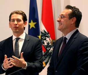 Högerpartiet i Österrike (partiledaren Sebastian Kurz till vänster) bildade i december 2017 regering med högerpopulisterna (den korrupte Heinz-Christian Strache till höger). Foto: Ronald Zak