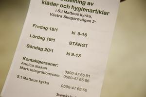 Kyrkans öppettider på svenska.