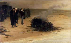 Percy Bysshe Shelleys begravning. Målning av Louis Édouard Fournier från 1889.