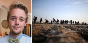 Anton Nordqvist, Miljöpartiet Jämtland.Till höger, flyktingar på väg att korsa gränsen mellan Grekland och Turkiet.