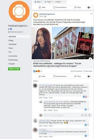 Skärmdump från helahälsingland.se Facebookkonto.