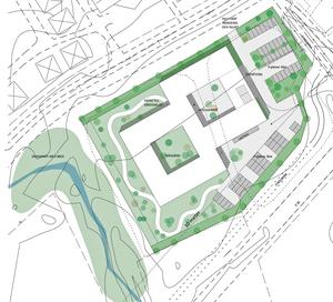 De planerade två huskropparna är de vita kvadraterna med varsina två ljusgårdar i mitten. E16 syns i bildens nedre högra hörn. Bilden är en skiss, och visar endast schematiskt hur det kan komma att se ut. Bild/skiss: Magnolia.