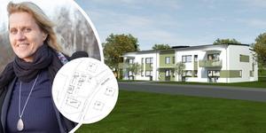 Länsstyrelsen i Gävleborg upphävde detaljplanen för 25 bostäder på Kyrkogatan. Nu har i stället Ockelbogårdar fått bygglov för att bygga 16 nya lägenheter på Höjdvägen i Gäveränge, Ockelbo. Bilden är ett montage. Foto: Ockelbogårdar.