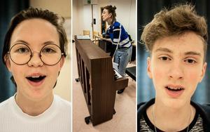 Iris Borg Rundquist och Daniel Svenberg värmer upp rösten. Vid pianot sångpedagogen Ester Årman Wallmyr.