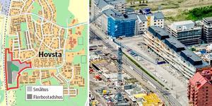 Snart byggs det även i storskala i Hovsta. Här ska det byggas 150 bostäder . Detaljplanen är antagen. Det är både privat och kommunal mark.