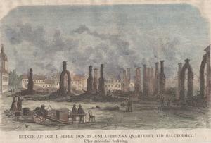 Trägravyren från Ny Illustrerad tidning visar ruinerna av Gävle efter stadsbranden 1869.