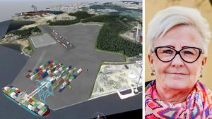 Anita Bdioui försvarar vd:n på Sundsvalls Logistikpark, bolaget som ska bygga kombiterminalen i Sundsvall.