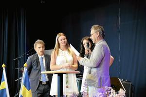 Stipendiater. Andreas Lindkvist, Linnea Berg och Adina Skodu fick stipendium för sin uppdragsfilm.