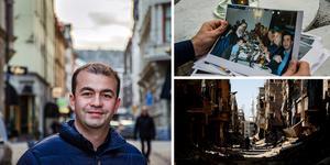 Alaa Ourabi Alkhn berättar om livet i Damaskus, flykten över Medelhavet och tillvaron i Sverige. Här övade han mycket på språket och gick från att jobba deltid till heltid. Fotot är ett montage. Bild: ST / TT