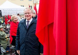 Försvarsminister Peter Hultqvist (S) deltar i förstamajfirandet i Borlänge 2016. Foto: Ulf Palm / TT.