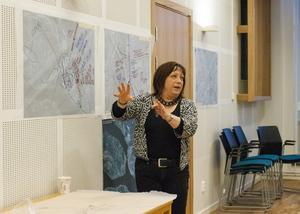 Karin Thomasson (MP) var en av flera som fick chansen att spåna kring hur lokaltrafiken kan komma att se ut om 20-30 år. Var ska bussarna åka? Var cyklar och går man? Det var några av frågorna man diskuterade.