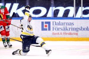 HV71:s Lawrence Pilut jublar efter 1-2-målet.Foto: Daniel Eriksson / BILDBYRÅN.