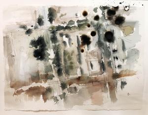 Krigets skräck över att den egna bostaden skulle bombas  var stark. Här  har Dieter Kluge bränt hål i en abstraherad målning över ett bostadsområde och park i Neukölln. Bombanfallen kunde hända var som helst, när som helst.
