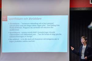 """Birgitta Johansen, länsmuseichef för Örebro län talade om dolda budskap. – """"Ta bort gammal infrastruktur som inte längre tjänar något syfte"""", är det någon som tänkt på vad det faktiskt innebär, säger hon."""