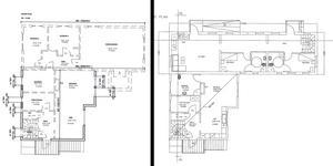 Till vänster ses skiss från det gamla bygglovet och till höger ses motsvarande skiss i det nya bygglovet där innerväggar tagits botr och planlösningen gjorts om. Skiss: Södertälje kommun