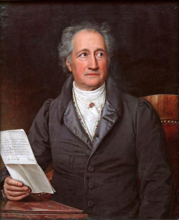 Skönanden Johann Wolfgang von Goethe. Målning av Joseph Karl Stieler från 1828.