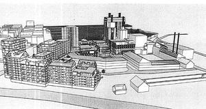 Peabs och Kokpunkten förvaltnings AB:s vision av nya bostadshus vid Steam hotel, sett från  Björnövägen. Illustration: Sweco