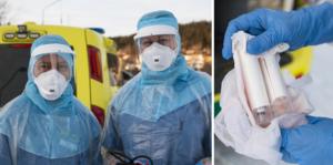 Undersköterskan Lars Månsson (till vänster) tillsammans med verksamhetschefen på infektionskliniken, Jessica Nääs. Under torsdagen åkte de ut på det första hembesöket för provtagning av coronaviruset.