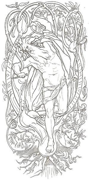 Den offrade Oden på Yggdrasil. Illustration av  Lorenz Frølich från 1895.
