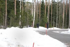 Området spärrades av på fredagskvällen och sökningsarbetet pågick även under lördagen.
