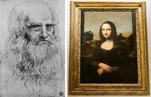 Två berömda konstverk av Leonardo da Vinci, ett självporträtt och Mona Lisa. Foto: TT