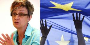 """""""Valet på söndag 26 maj handlar om vilket Europa vi vill ha, vilken människosyn vi står för"""" skriver Laila Edholm, medlem i S-kvinnor. Foto: DT arkiv/TT/Montage"""