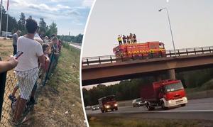 Till höger: Här passerar brandbilskonvojerna Norrköping under lördagen. FOTO: Läsarbild.