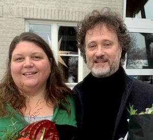 Karin Nilsson och Krister Pettersson vid stipendieutdelningen. Foto: Bengt Nyman