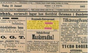 Tidningsannons från 1883 som omtalar Ismagasinet.