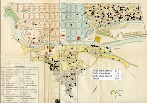 Kolerakartan. Varje svart prick är ett dödsfall. Här kan vi se klassamhällets dödliga effekter.