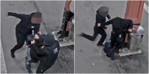 Misshandeln börjar med slag och sparkar tills offret faller till marken. (Bilder från övervakningskameran).