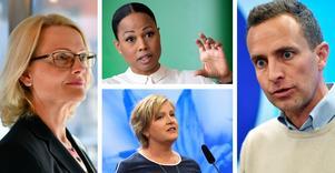 Toppnamnen för Socialdemokraterna, Miljöpartiet, Liberalerna och Moderaterna i Europaparlamentsvalet är Heléne Fritzon, Alice Bah Kuhnke, Karin Karlsbro och Tomas Tobé. Foto: TT