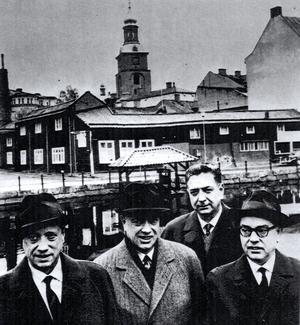 Bröderna Herdin, med sköljbryggan i bakgrunden: Bengt, Anders, Nils och Olle.