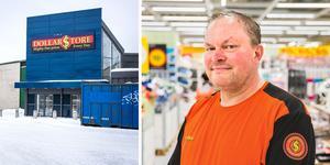 Dollarstores butikschef Michael Nelin är glad över att grannlokalen äntligen ska befolkas. Foto: Mattias Hansson och Jesper Jäger-Ärlestad