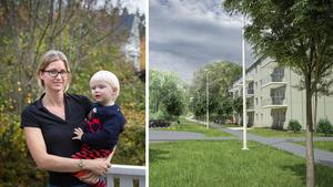 Moa Festin och sonen Dag som bor i Blombacka är några av de boende som har synpunkter på kommunens planer för kvarteret Dagliljan. Foto: Karolina Önnebro/Skiss: Bo Klok