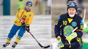 Erik Säfström och Rauan Issaliev. Foto: Rikard Bäckman / Bandypuls.se / TT