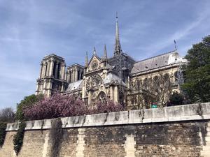 Notre Dame klockan 14:24. Några timmar senare startade branden. Foto: Jacke Sjödin