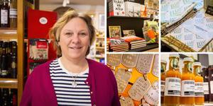 Christina Näslund driver butiken Smakrummet på Norra berget. Där finns mycket lokala godsaker att lägga i paketen.