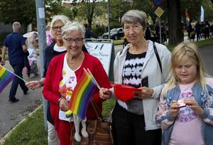 Tusentals gick i paraden – men vissa nöjde sig med att kolla på från sidan om. Här Britt-Inger Jansson, Barbro Hjalmarsson, Helena Höglund och Penny Höglund.