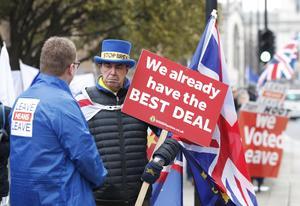 Starka känslor för och emot EU-medlemskap i Storbritannien. Foto: AP/TT