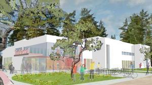 Så här ungefär kommer simhallen i Timrå att se ut. Illustration: PP Arkitekter.