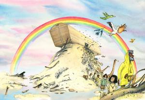 Noas Ark. Illustration av Marcus-Gunnar Pettersson.
