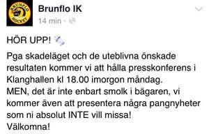 Skärmdump: Brunflo IK på Facebook