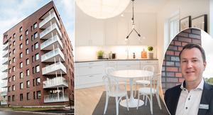 Försäljningen av bostadsrätterna i de trekantiga husen på Gideonsberg i Västerås är i full gång.